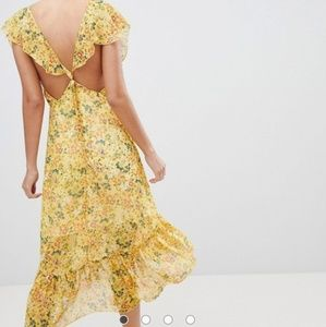 Prettylittlething Floral Tie Back Midi Dress